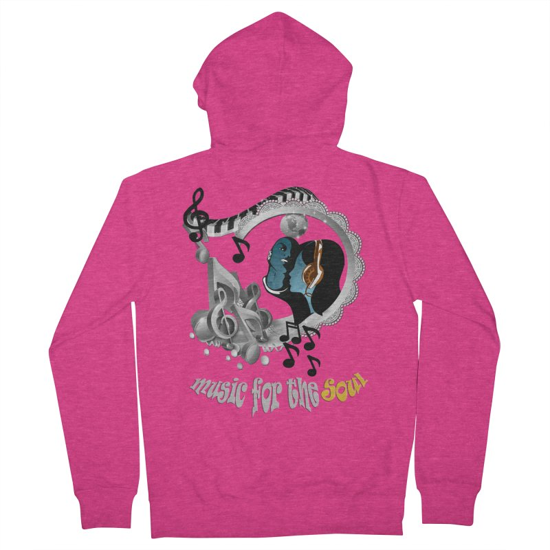 Music for the Soul in grey Women's French Terry Zip-Up Hoody by NadineMay Artist Shop