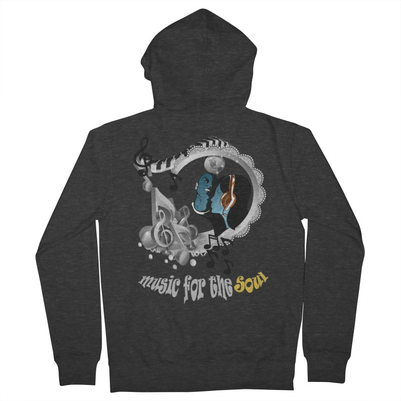 Music for the Soul in grey Men's Zip-Up Hoody by NadineMay Artist Shop