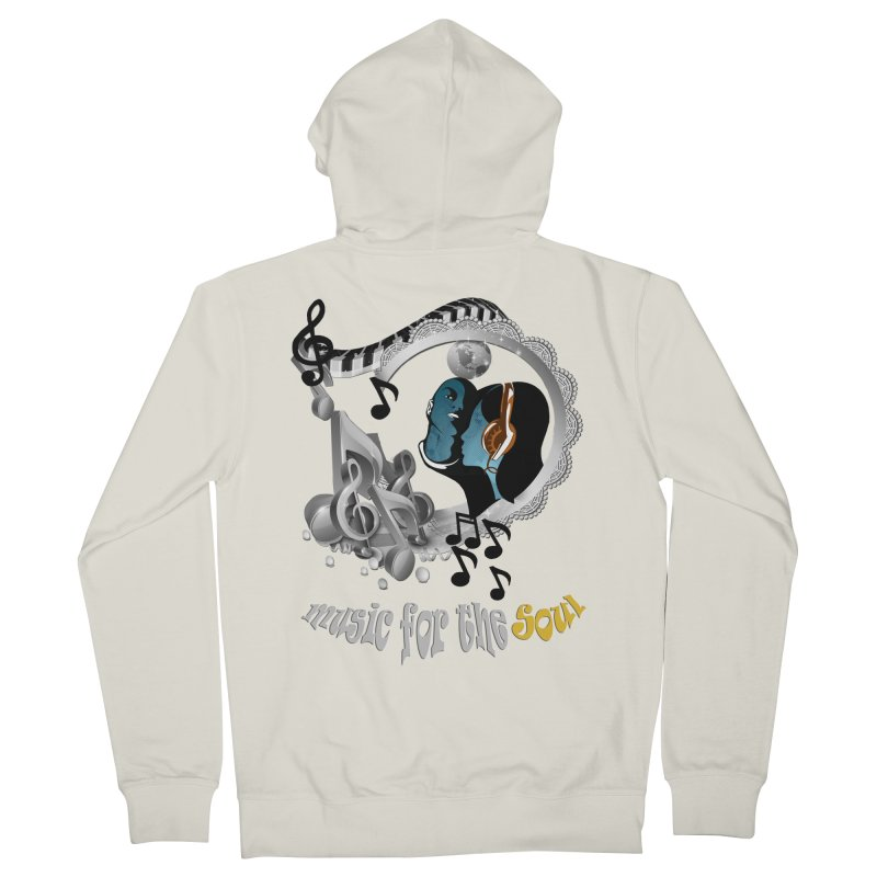 Music for the Soul in grey Men's French Terry Zip-Up Hoody by NadineMay Artist Shop