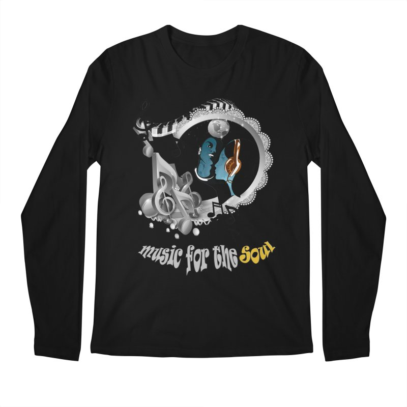 Music for the Soul in grey Men's Longsleeve T-Shirt by NadineMay Artist Shop