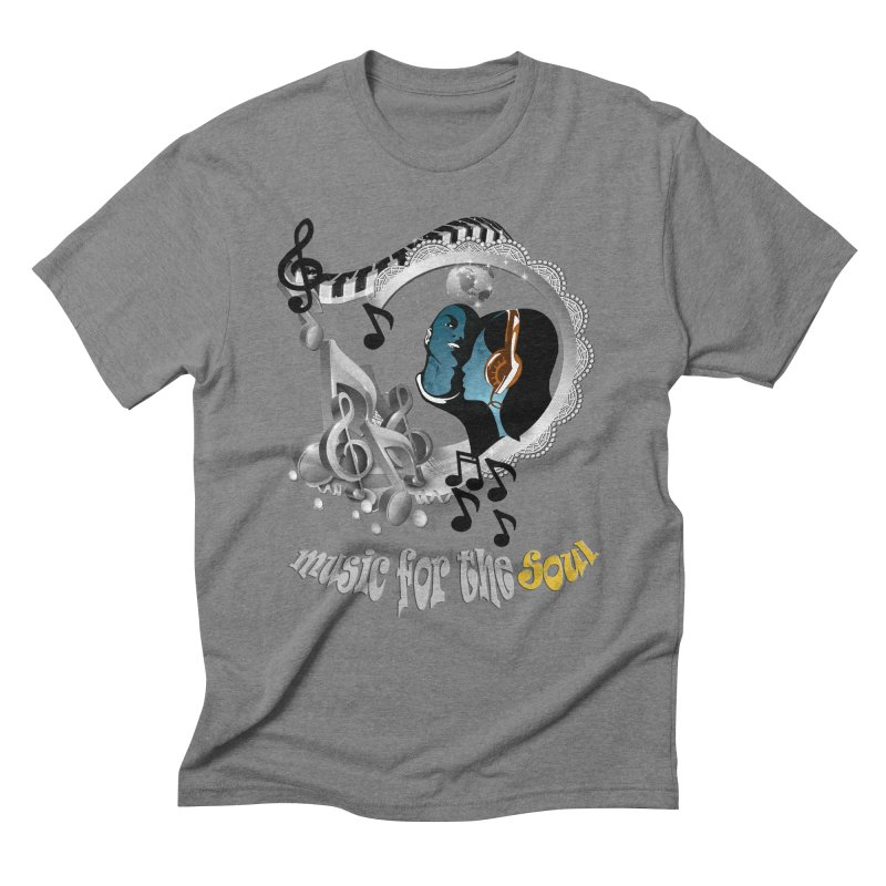 Music for the Soul in grey Men's Triblend T-Shirt by NadineMay Artist Shop