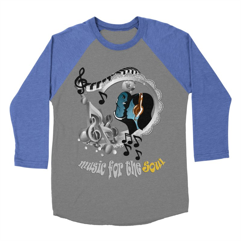Music for the Soul in grey Women's Baseball Triblend T-Shirt by NadineMay Artist Shop