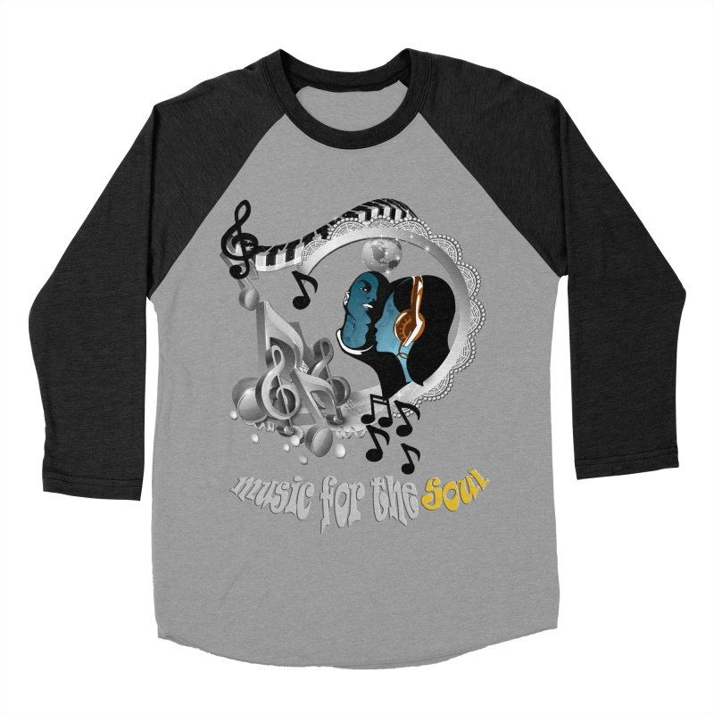 Music for the Soul in grey Men's Baseball Triblend T-Shirt by NadineMay Artist Shop