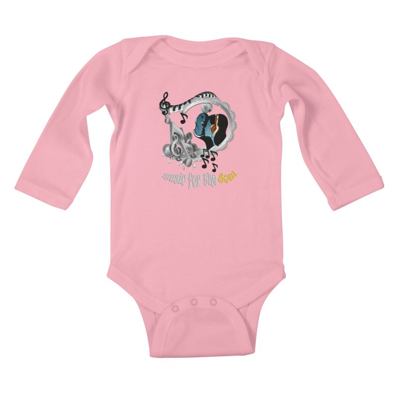 Music for the Soul in grey Kids Baby Longsleeve Bodysuit by NadineMay Artist Shop