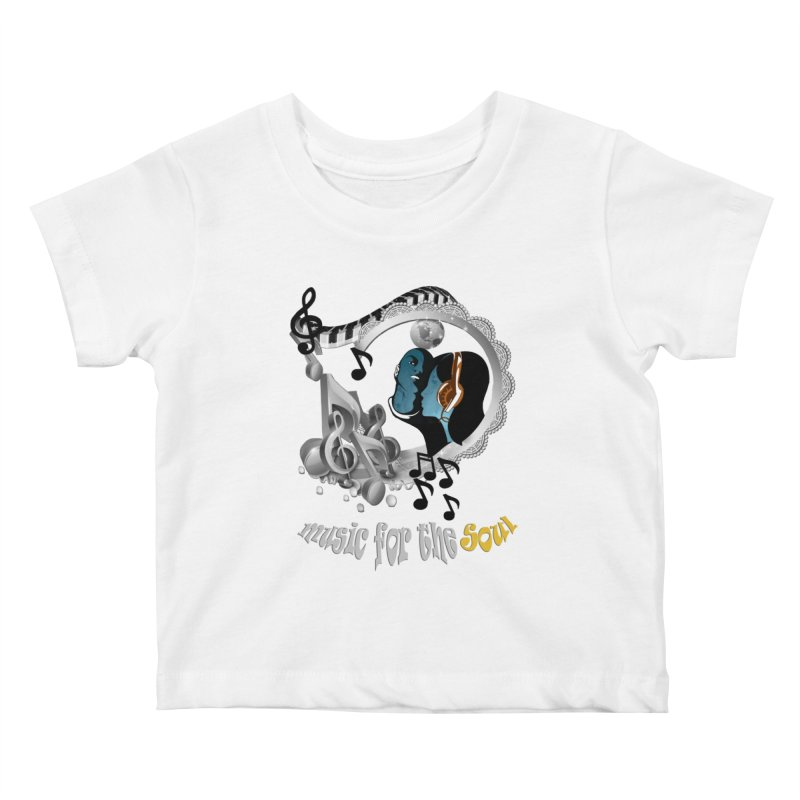 Music for the Soul in grey Kids Baby T-Shirt by NadineMay Artist Shop