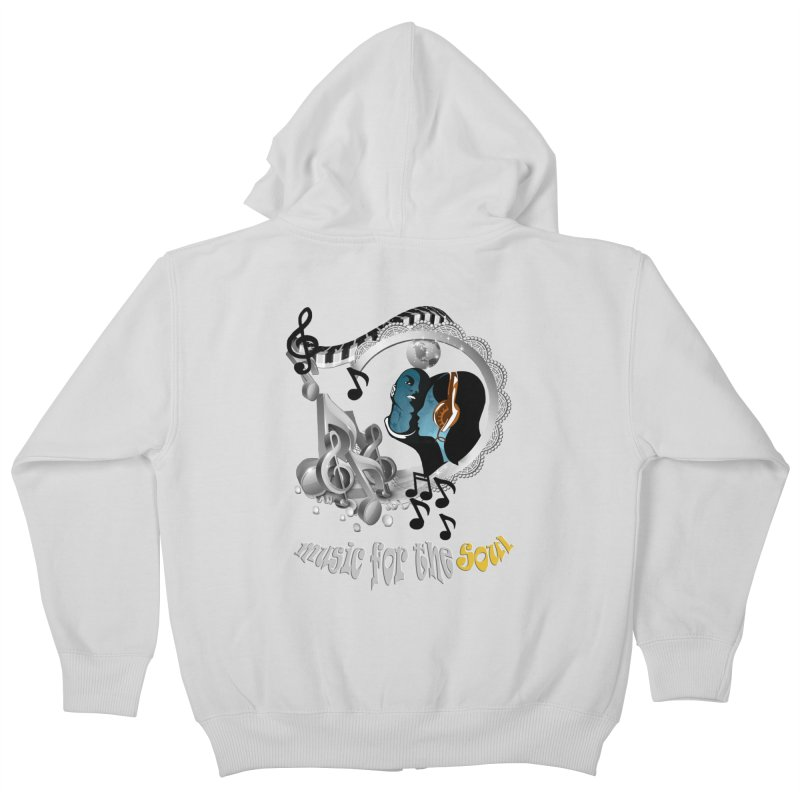 Music for the Soul in grey Kids Zip-Up Hoody by NadineMay Artist Shop