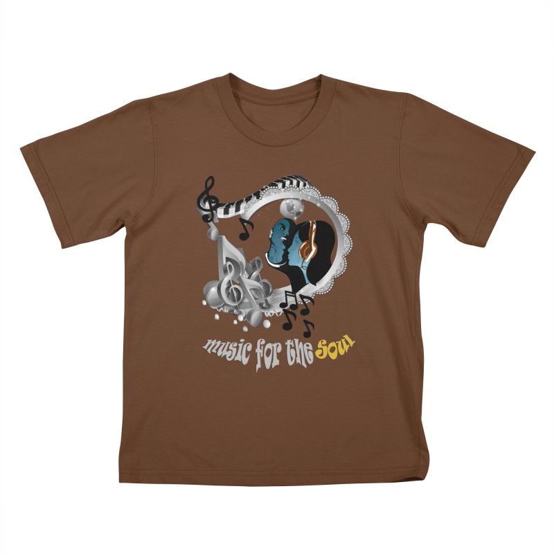 Music for the Soul in grey Kids T-shirt by justkidding's Artist Shop