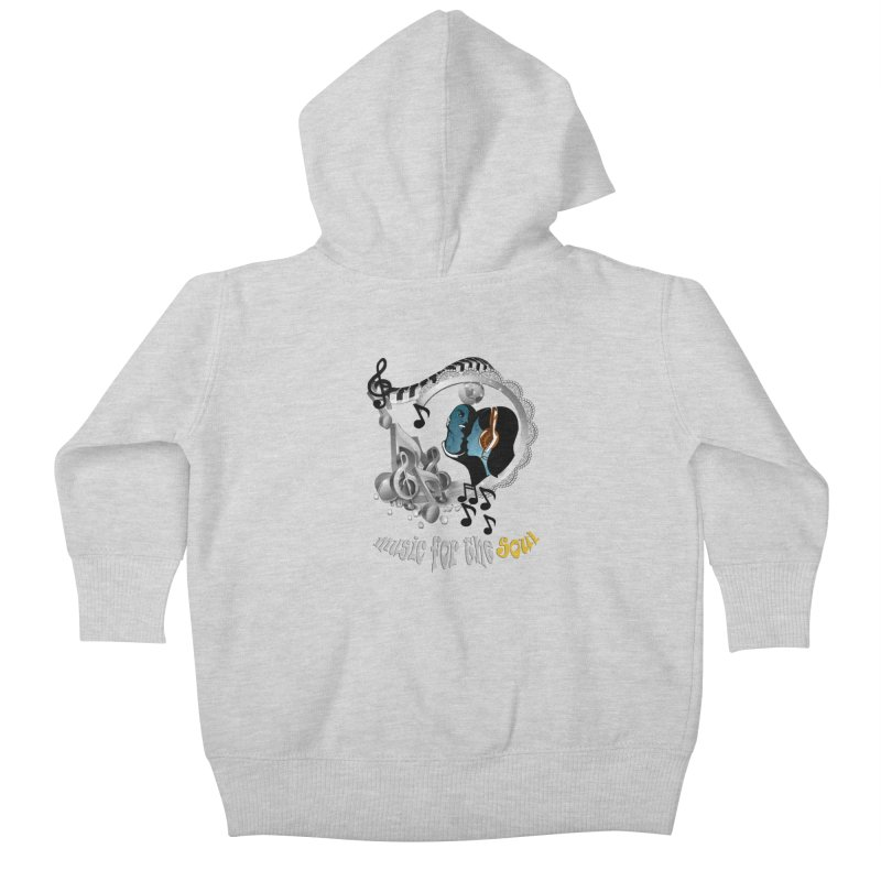 Music for the Soul in grey Kids Baby Zip-Up Hoody by NadineMay Artist Shop