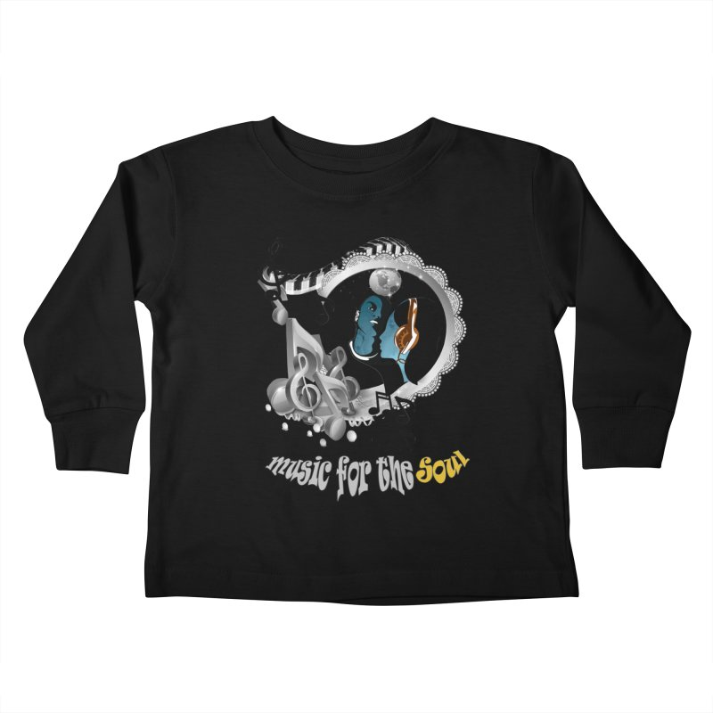 Music for the Soul in grey Kids Toddler Longsleeve T-Shirt by NadineMay Artist Shop