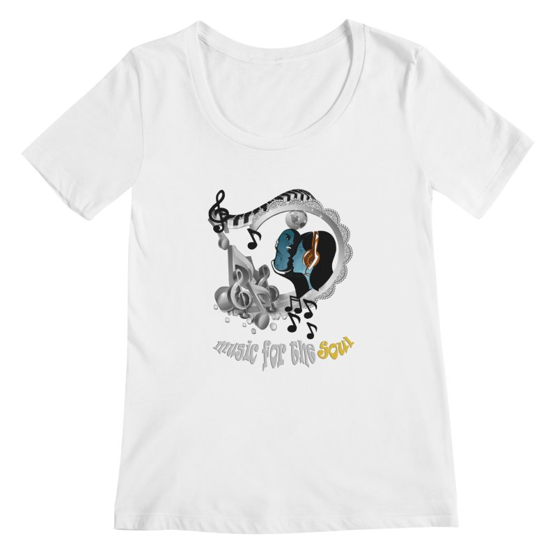 Music for the Soul in grey Women's Scoopneck by justkidding's Artist Shop