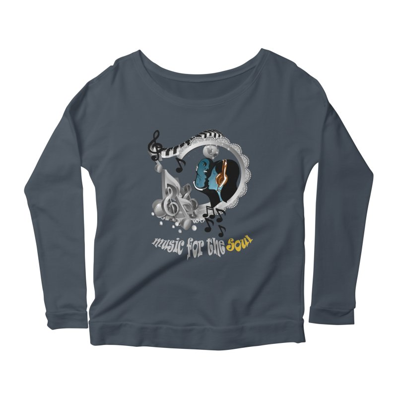 Music for the Soul in grey Women's Scoop Neck Longsleeve T-Shirt by NadineMay Artist Shop