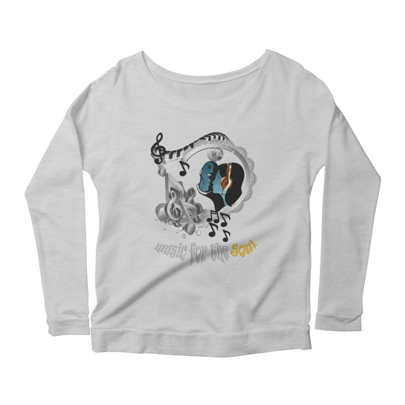 Music for the Soul in grey Women's Longsleeve Scoopneck  by NadineMay Artist Shop