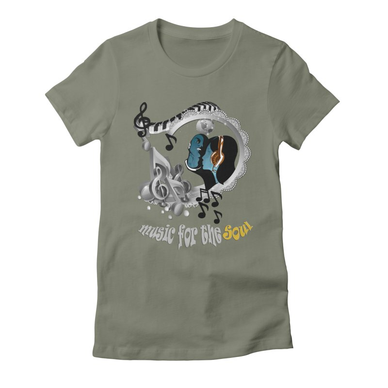 Music for the Soul in grey Women's Fitted T-Shirt by NadineMay Artist Shop