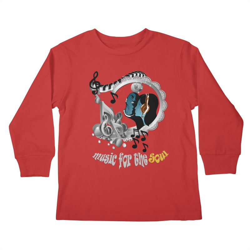Music for the Soul in grey Kids Longsleeve T-Shirt by NadineMay Artist Shop
