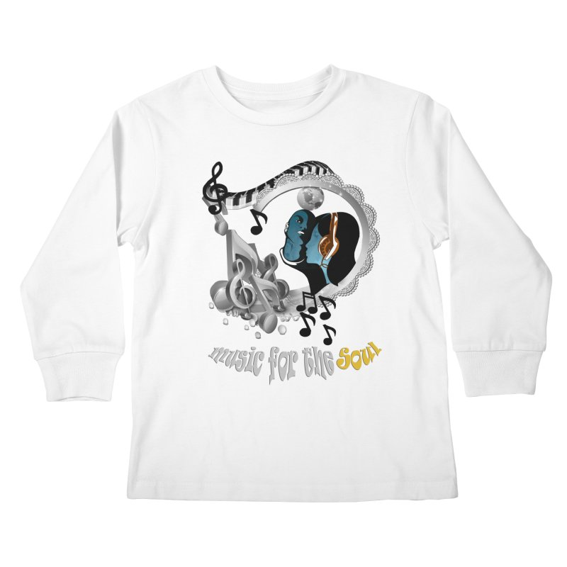 Music for the Soul in grey Kids Longsleeve T-Shirt by justkidding's Artist Shop