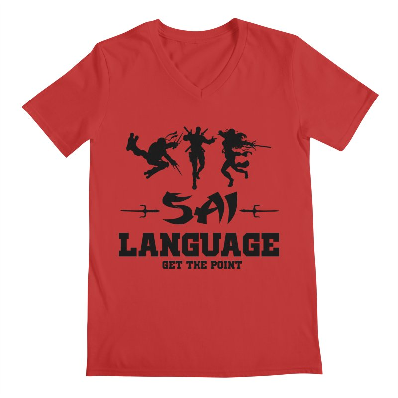 Sai Language Men's Regular V-Neck by Swag Stop by justsaying.ASIA