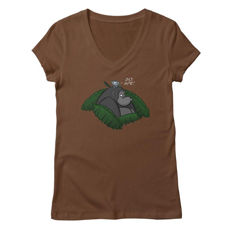 Go, Ape! Women's V-Neck by JVZ Designs - Artist Shop
