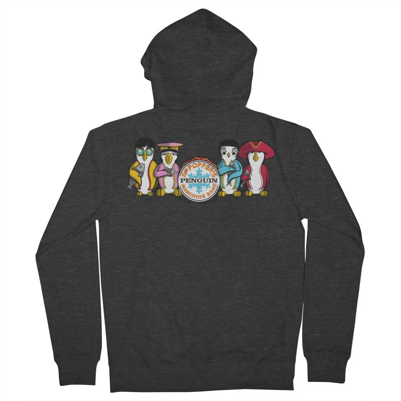 Sgt. Poppers Penguin Marching Band Men's Zip-Up Hoody by JVZ Designs - Artist Shop