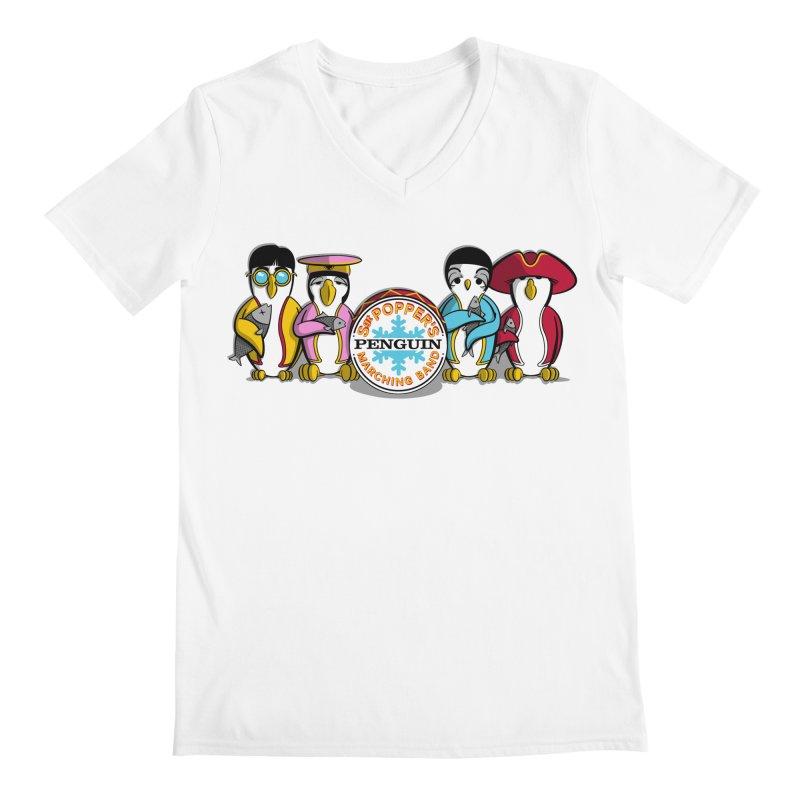 Sgt. Poppers Penguin Marching Band Men's V-Neck by JVZ Designs - Artist Shop