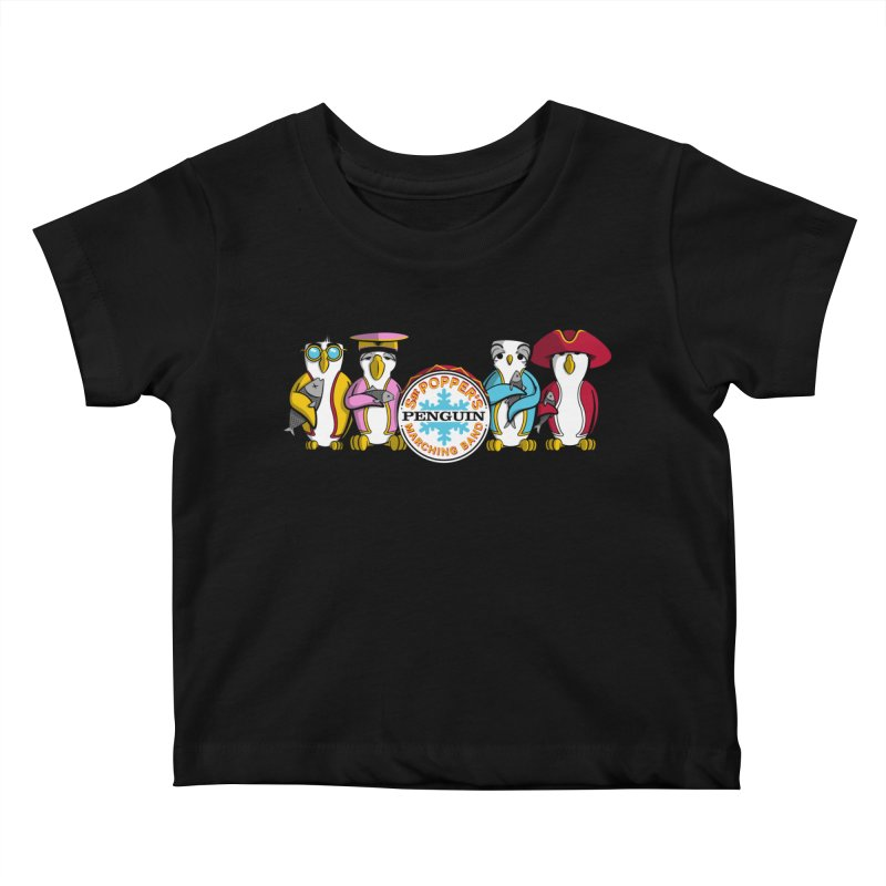 Sgt. Poppers Penguin Marching Band Kids Baby T-Shirt by JVZ Designs - Artist Shop