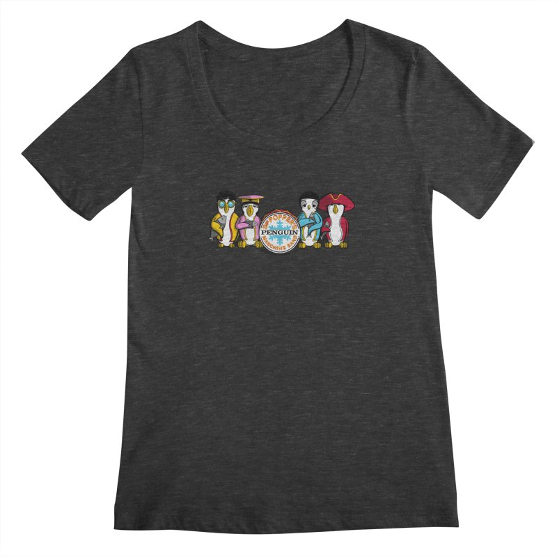 Sgt. Poppers Penguin Marching Band Women's Scoopneck by JVZ Designs - Artist Shop