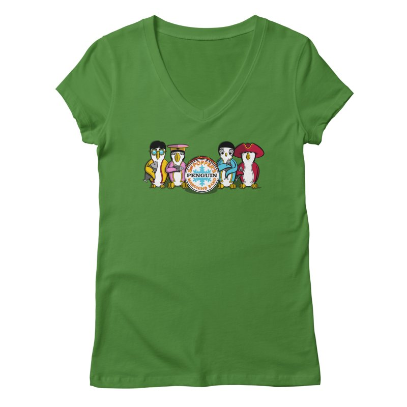 Sgt. Poppers Penguin Marching Band Women's V-Neck by JVZ Designs - Artist Shop