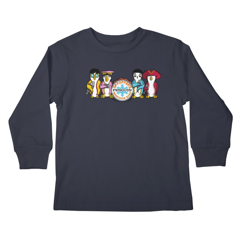 Sgt. Poppers Penguin Marching Band Kids Longsleeve T-Shirt by JVZ Designs - Artist Shop