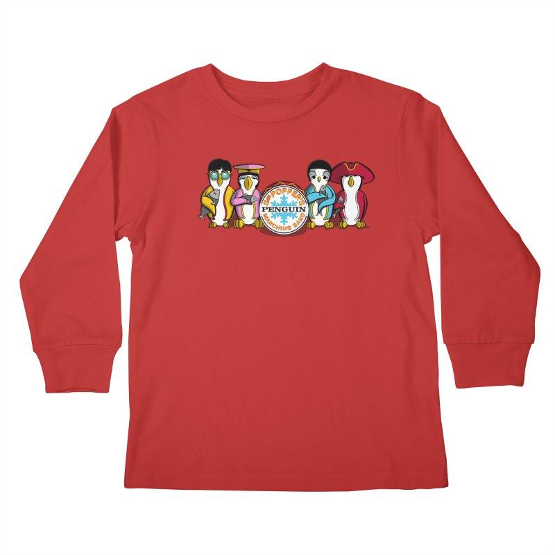 Sgt. Poppers Penguin Marching Band Kids Longsleeve T-Shirt by JVZ Designs - Artist Shop
