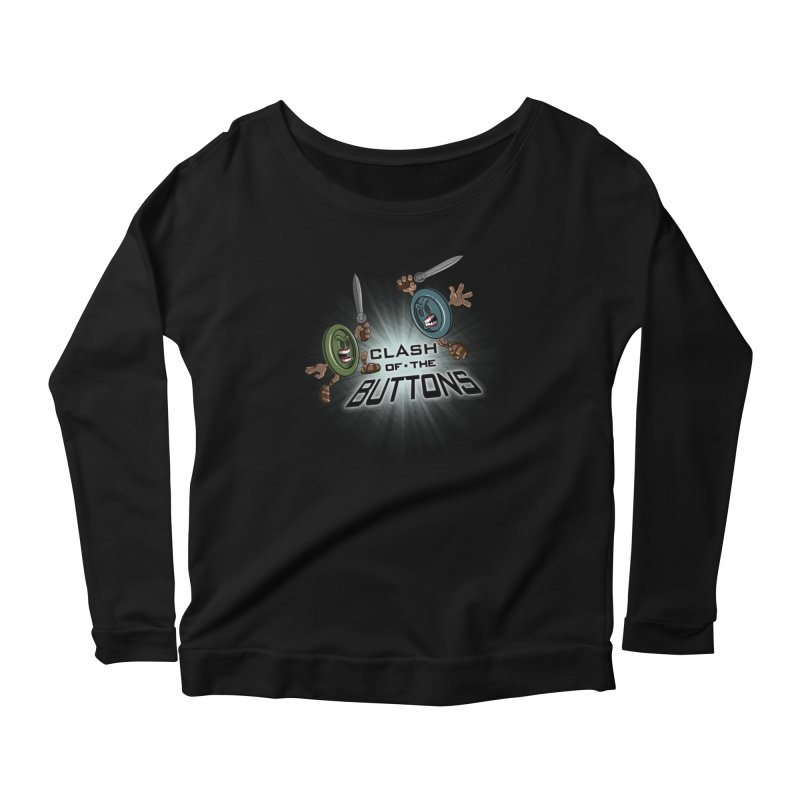 Clash of the Buttons Women's Longsleeve Scoopneck  by JVZ Designs - Artist Shop