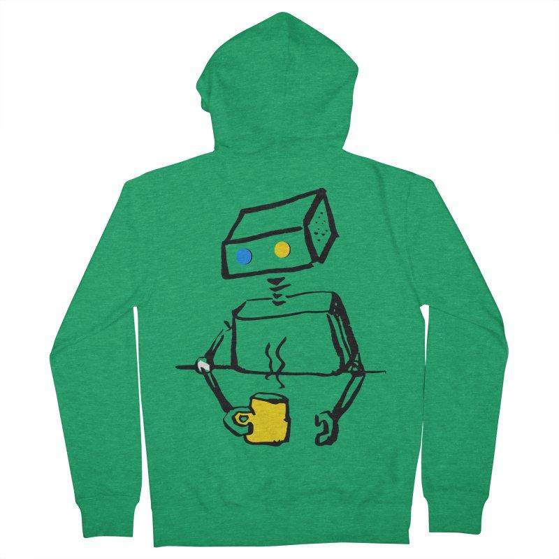Robot on Coffee Break Men's Zip-Up Hoody by KaascaT-Shirts