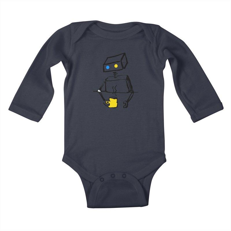 Robot on Coffee Break Kids Baby Longsleeve Bodysuit by KaascaT-Shirts