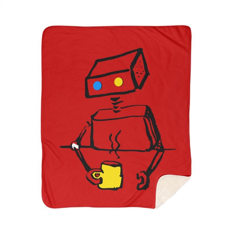 Robot on Coffee Break Home Blanket by KaascaT-Shirts