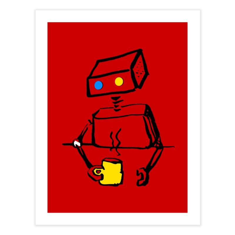 Robot on Coffee Break Home Fine Art Print by KaascaT-Shirts