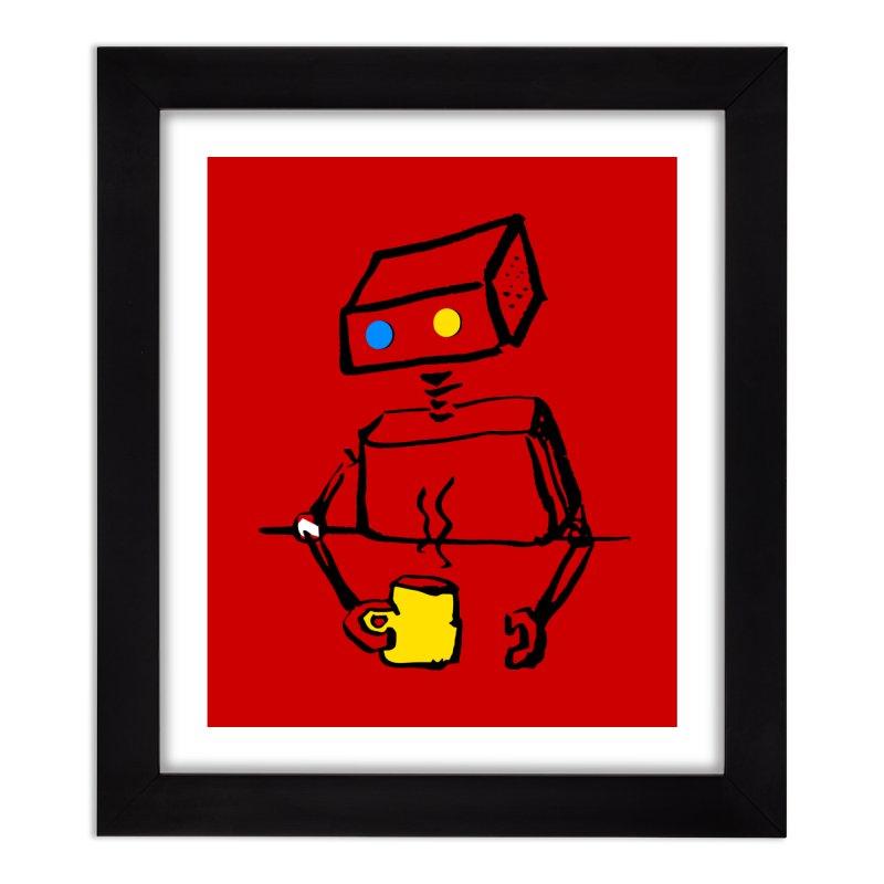 Robot on Coffee Break Home Framed Fine Art Print by KaascaT-Shirts