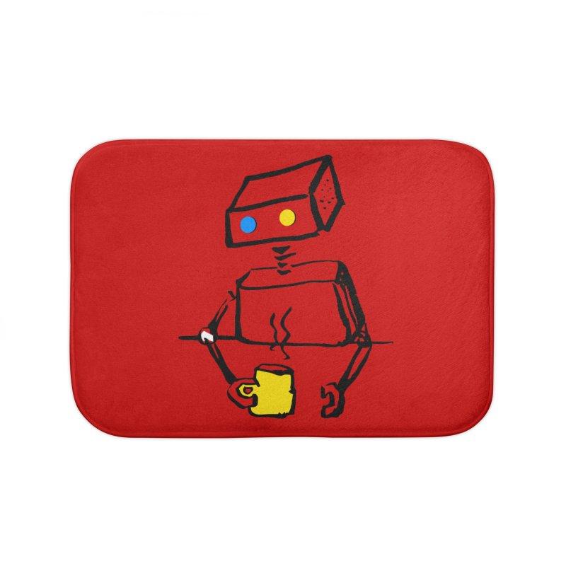 Robot on Coffee Break Home Bath Mat by KaascaT-Shirts