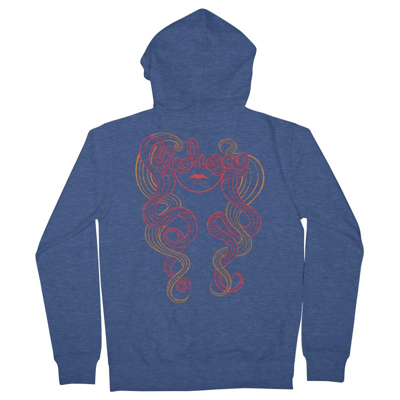 Medusa with type Men's Zip-Up Hoody by kaboodle's Artist Shop