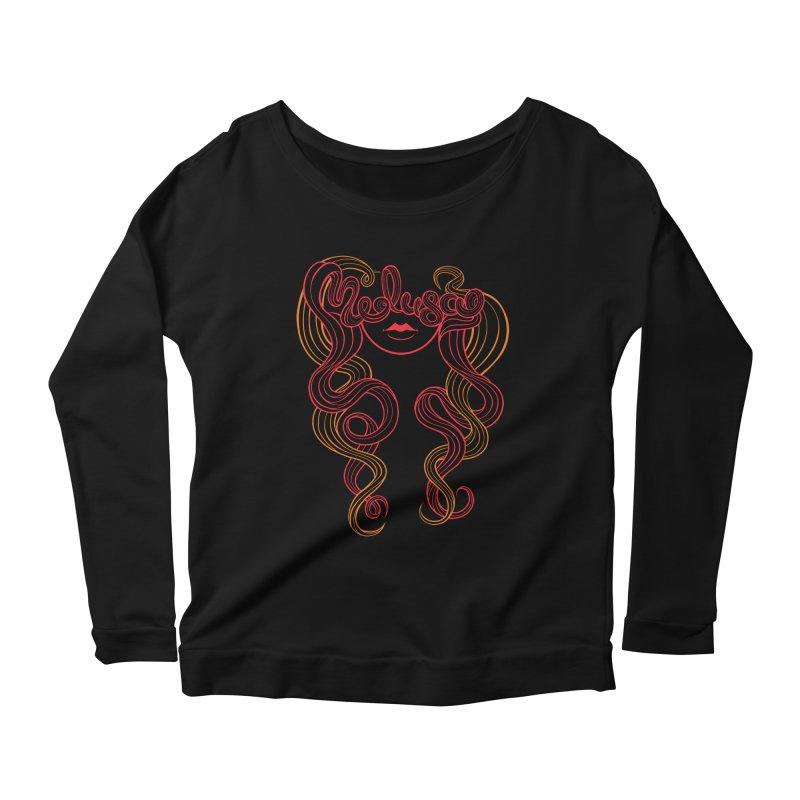 Medusa with type Women's Longsleeve Scoopneck  by kaboodle's Artist Shop