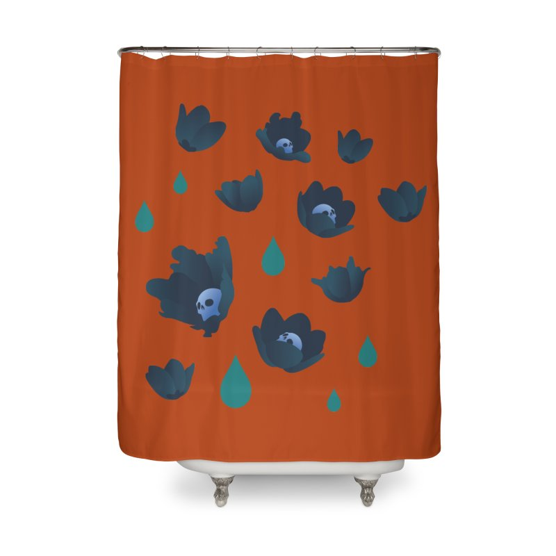 Winter Poppies (Rust) Home Shower Curtain by kaboodle's Artist Shop