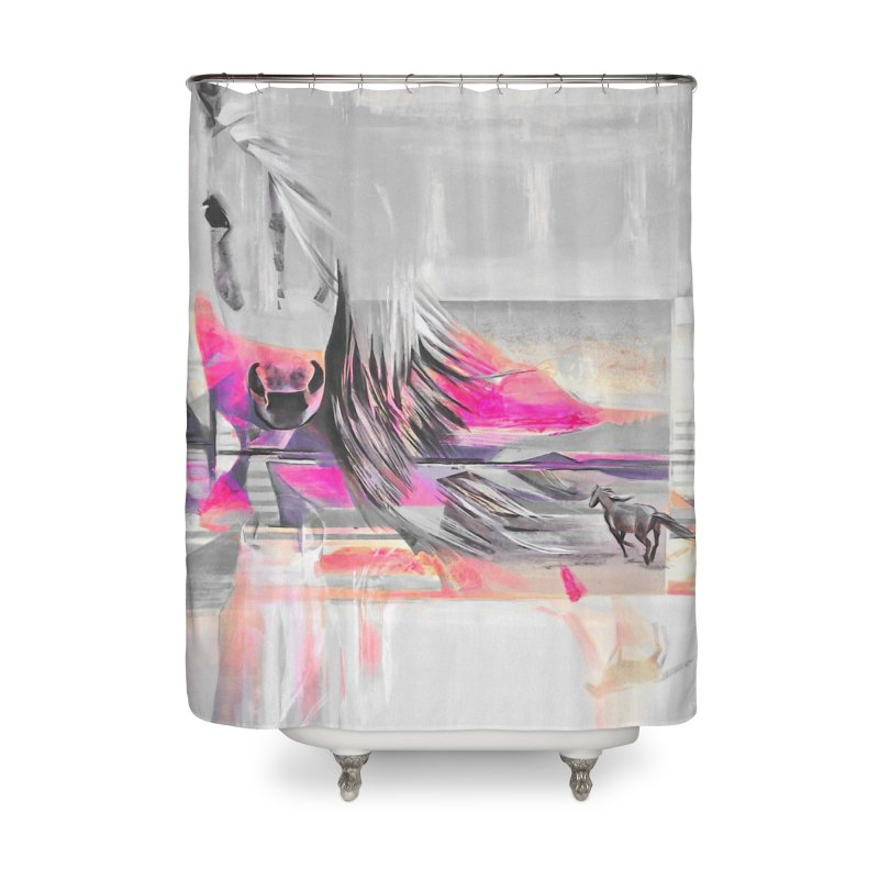 Horse Home Shower Curtain by Kacix Artist Shop