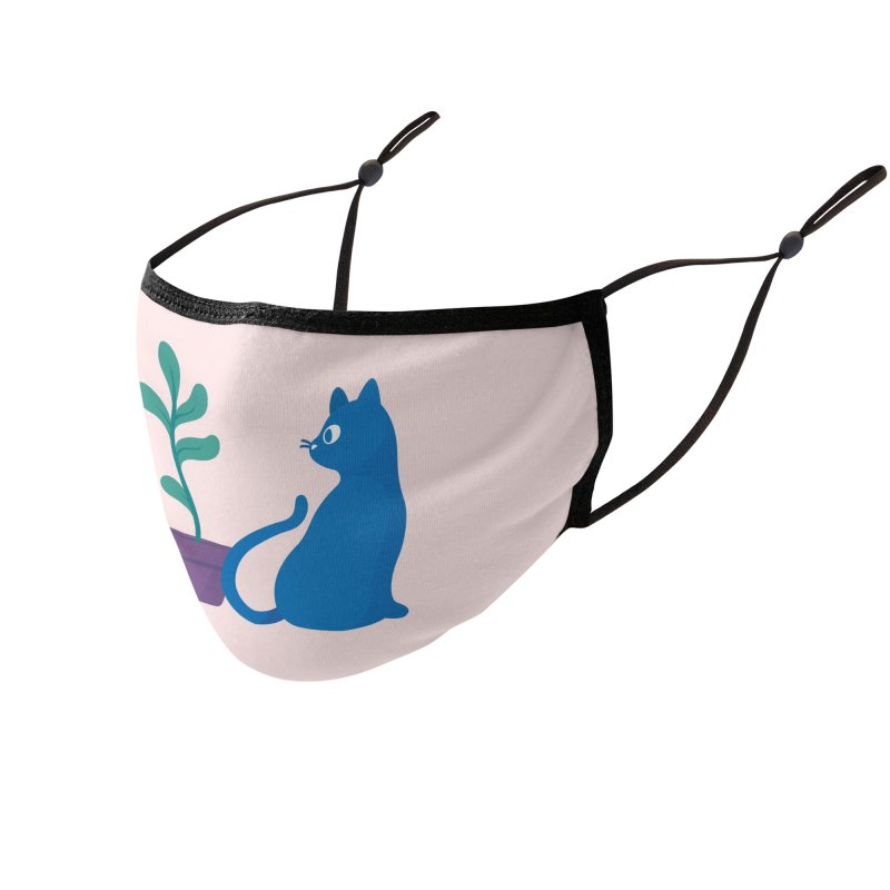 Blue Cat with Houseplant Accessories Face Mask by Kadusaurus's Shop