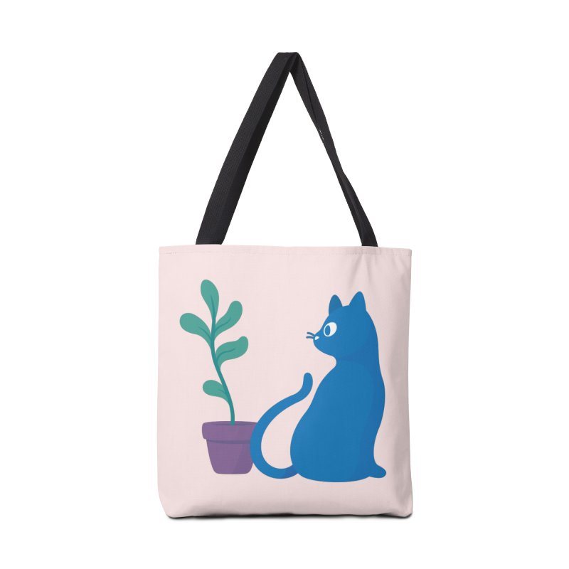 Blue Cat with Houseplant Accessories Bag by Kadusaurus's Shop