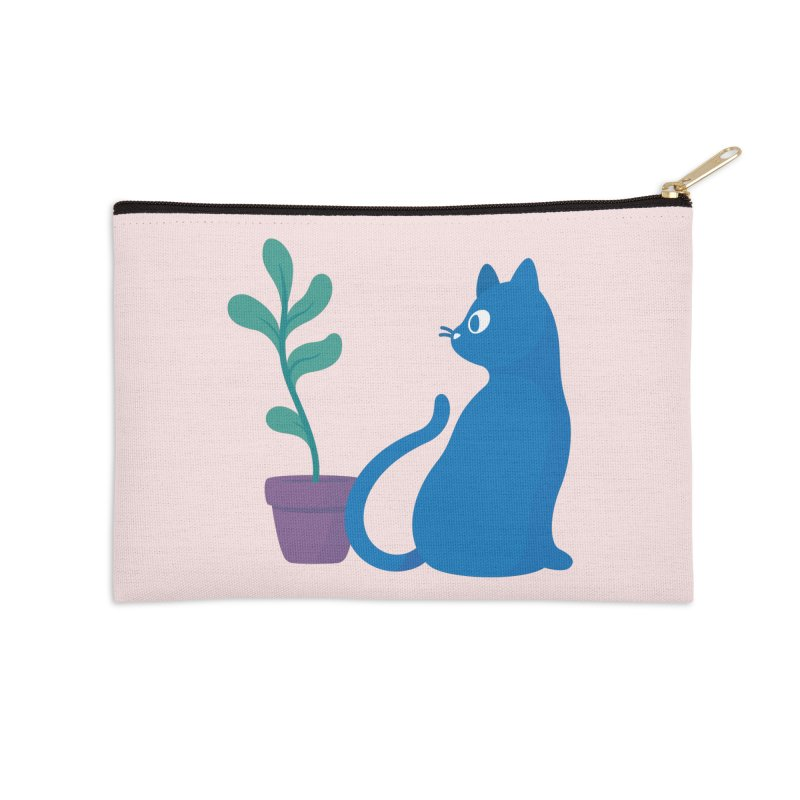 Blue Cat with Houseplant Accessories Zip Pouch by Kadusaurus's Shop