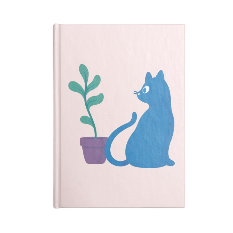 Blue Cat with Houseplant Accessories Notebook by Kadusaurus's Shop