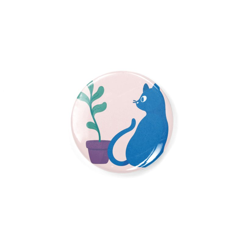 Blue Cat with Houseplant Accessories Button by Kadusaurus's Shop