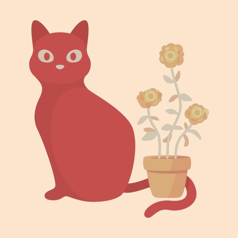 Orange Cat with Houseplant Accessories Sticker by Kadusaurus's Shop