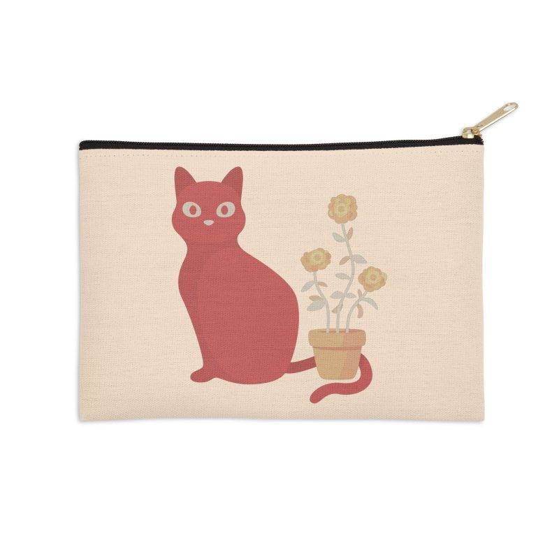 Orange Cat with Houseplant Accessories Zip Pouch by Kadusaurus's Shop