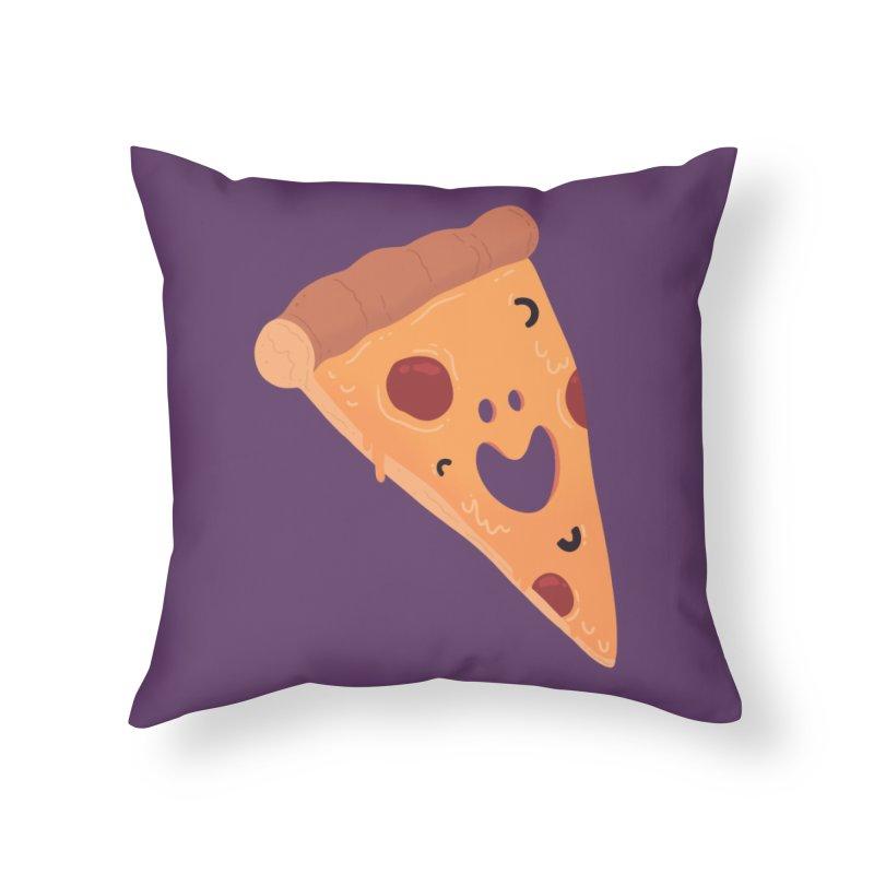 Happy Cheesy Pizza Home Throw Pillow by Kadusaurus's Shop