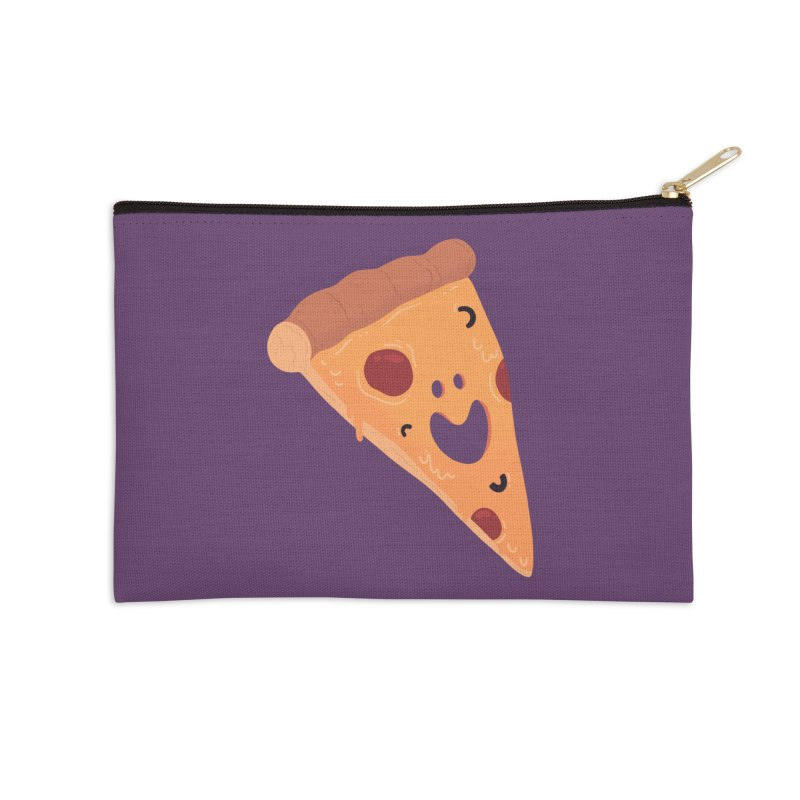 Happy Cheesy Pizza Accessories Zip Pouch by Kadusaurus's Shop