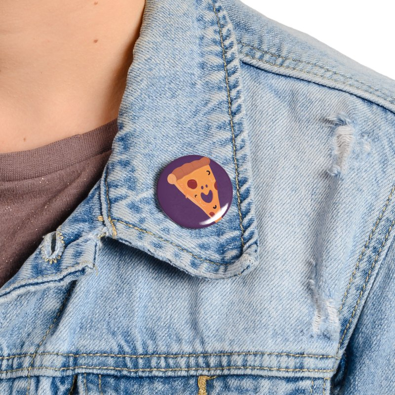 Happy Cheesy Pizza Accessories Button by Kadusaurus's Shop
