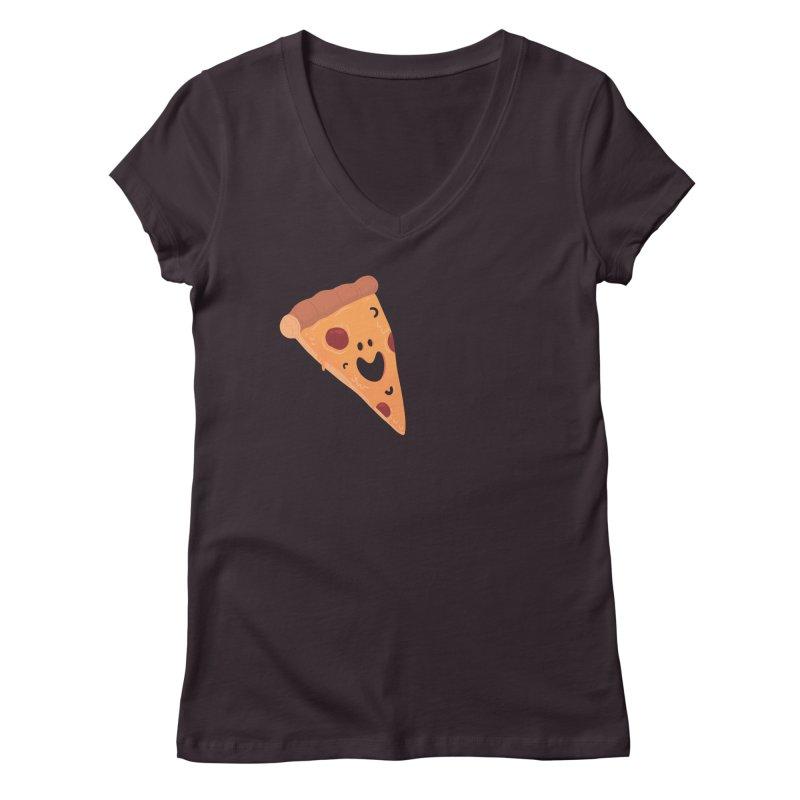 Happy Cheesy Pizza Women's V-Neck by Kadusaurus's Shop